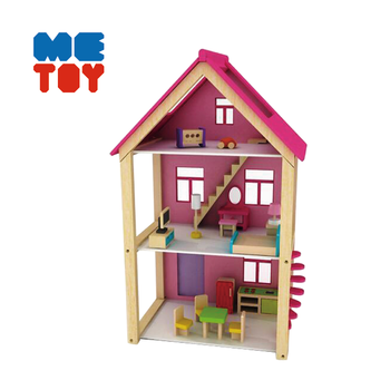 New design kids role play wooden toy house dollhouse