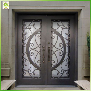 Modern Decorative Wrought Iron Front Patio Double Entry Doors Buy Portes D Entree Doubles En Fer Forge Double Porte Decorative Avant Porte D Entree En Fer Forge Product On Alibaba Com