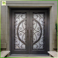 Modern decorative wrought iron front patio double entry doors