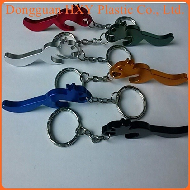 customerized squirrel Laser engraved metal bottle opener keychain china supplier