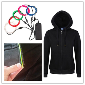 cotton LED flashing el wire hoodie