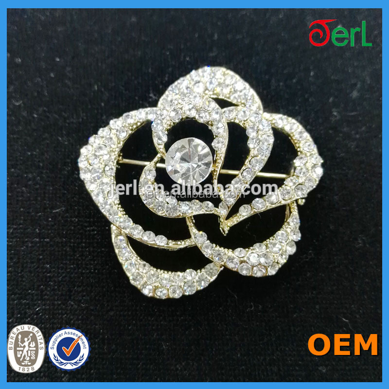 Brooches Jewelry Type Rose Flower Rhinestone Brooch Pins for Wedding Dress Decoration