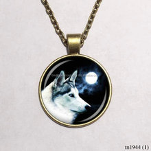 Teen Wolf And Full Moon Glass Dome Pendant Handmade Necklace Jewelry