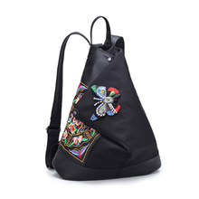 Nylon embroidered unique minority custom feeling woman backpack bag