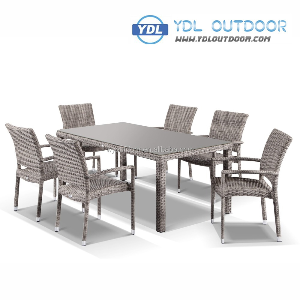 2017 Best seller garden outdoor wicker 6 seats dining set YDL-WDS067-1, Garden PE wicker table and chairs