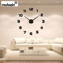 2016 New Arrival Wall Clock Watch muhsein 3D DIY Acrylic Mirror Wall Stickers Home Decor Living Room Quartz Needle Free Shipping