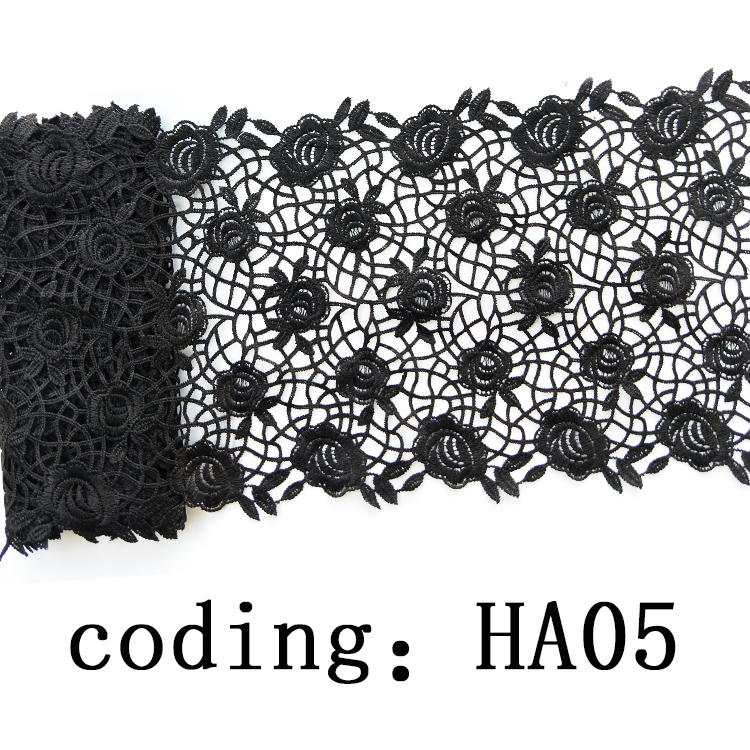 Customized black embroidered guipure flower pattern pearl beaded lace trim for scarf
