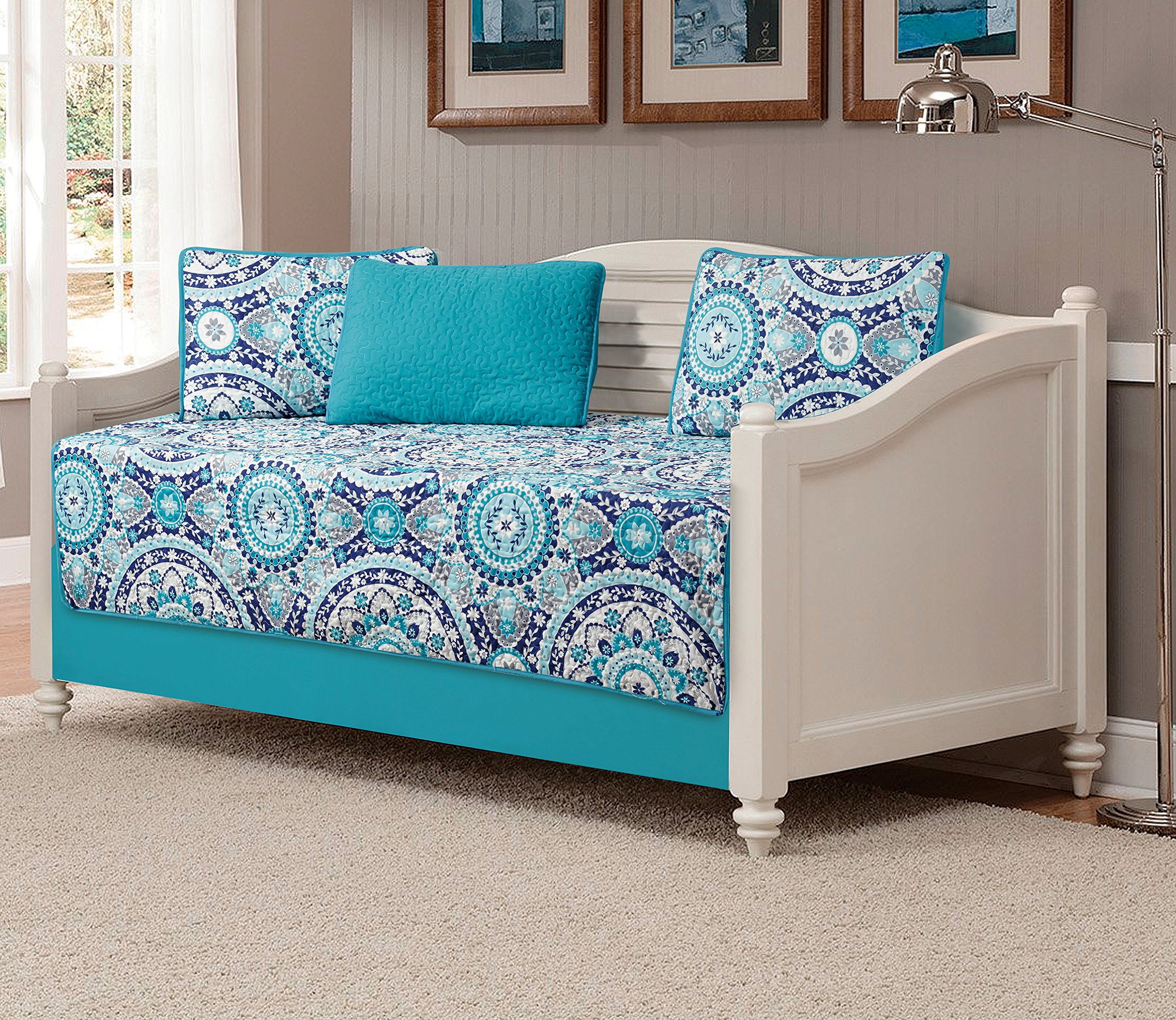 Mk Collection 5pc Daybed quilted Floral Turquoise Teel Blue Grey new #185