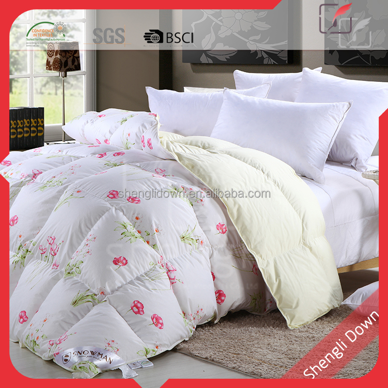 100% Cotton embroidered comforter, duck down thick comforter