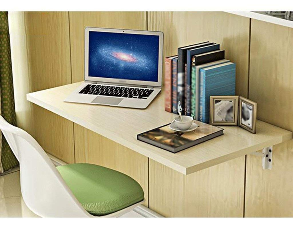 Mmdp Computer Desk Wall-mounted Desk Foldable Dining Table Office Table 6040cm Learning Table Color Optional (Color : White maple color)