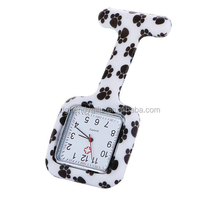 Factory Custom Square Silicone Nurse Fob Watch,Footprint/Leopard Print Available, Also Can Brand Your Own Logo