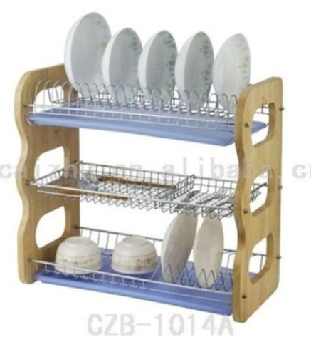 3L B Shape Wire standing Dish Rack with Wood Handle for kitchen