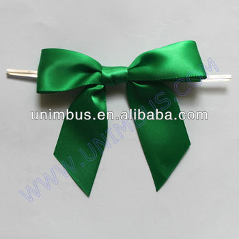 Dark Green Satin Ribbon Pre Made Bow With Wire Twist Tie