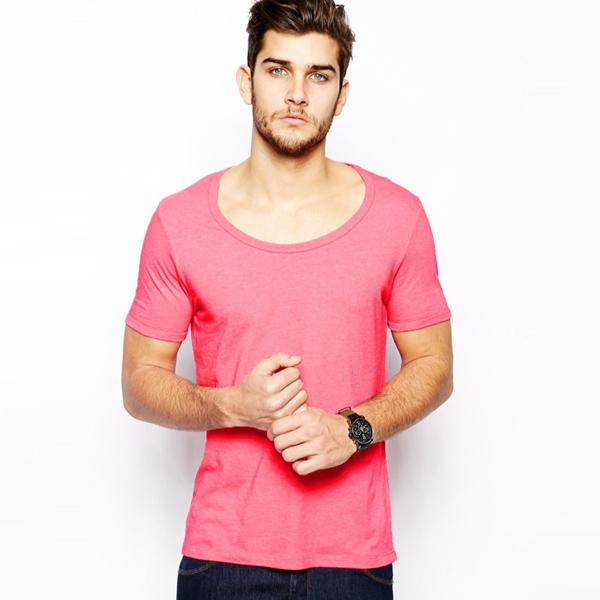 Promotion T Shirt Wide Neck Men 95 Cotton 5 Elastane T