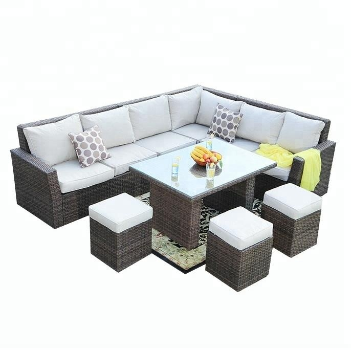 8 Seater Rattan Garden L Shaped Sofa Table Set Outdoor Wicker