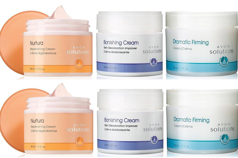 Avon Skin Solutions Six Set of Dramatic Firming Cream, Nurtura Replenishing Cream, Banishing Cream Skin Discoloration Improver
