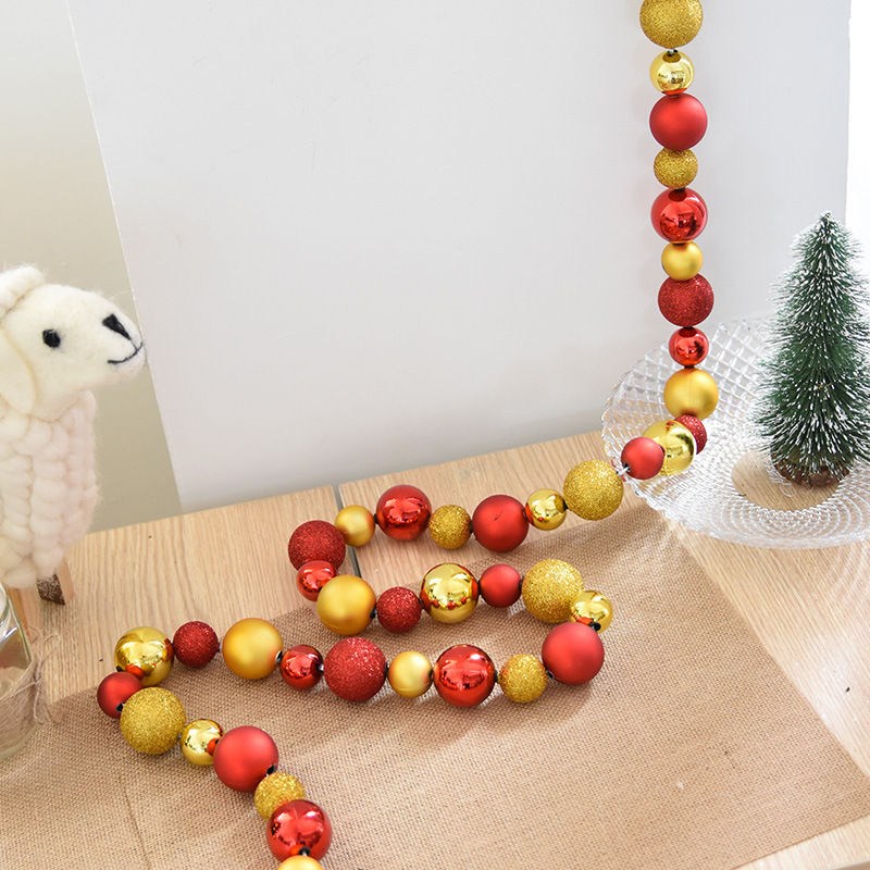 2M Red and Gold Plastic Christmas Ball Garland for Home Decoration