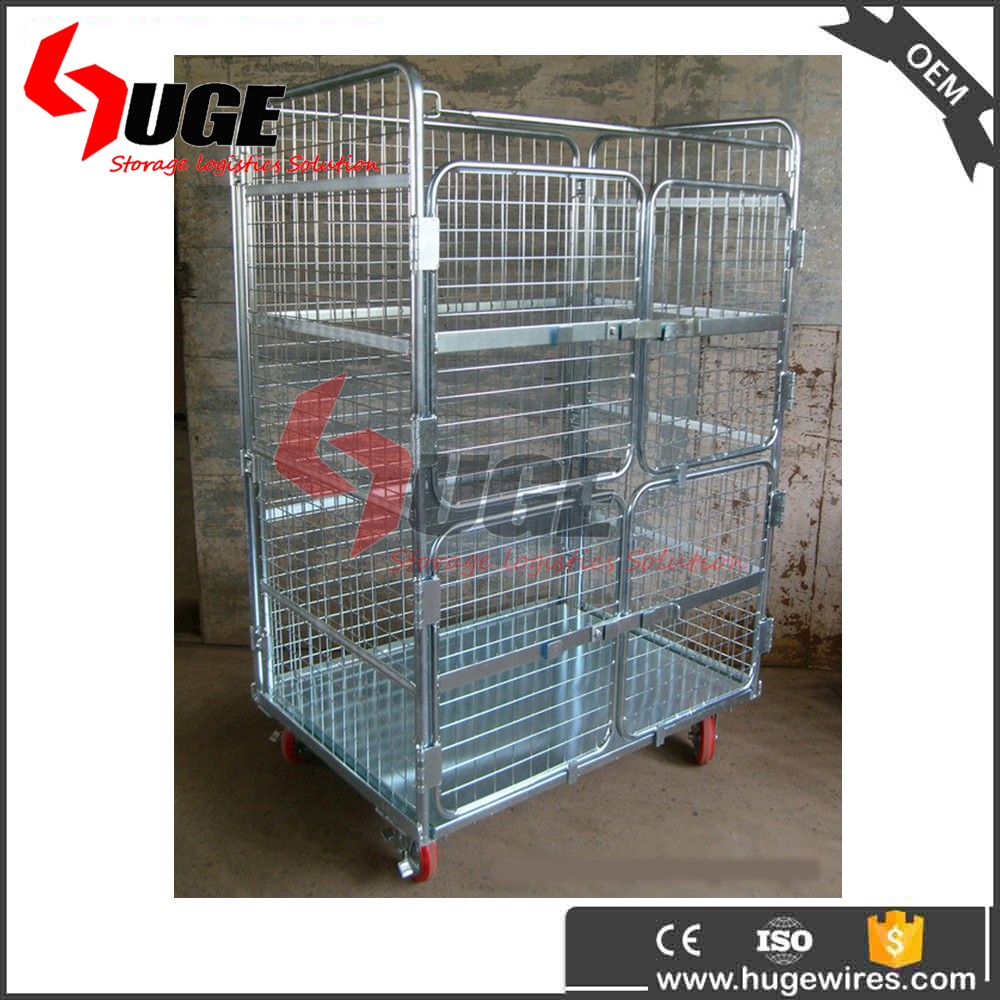 Stackable Silver Workshop Pack And Roll Cage Trolley Cart For Sorting
