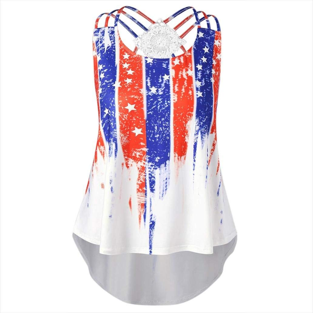 Casual Print American Flag Tank Top for Women Plus Size Juniors Racerback Loose Strappy Sleeveless Tops Basic T-Shirt Blouse Clearance Sale (4XL, Blue&Red&White)