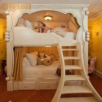 Bisini French Style White Kids Wooden Bunk Bed, Dream House Princess Bed BF07-70212