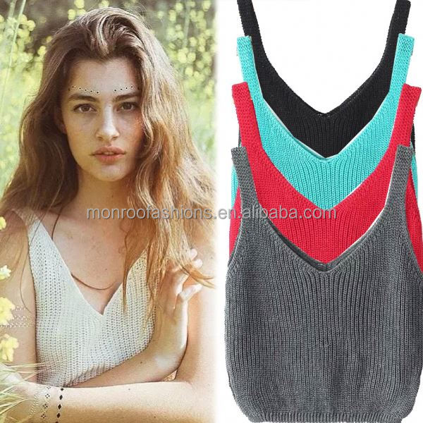 monroo Hot sexy women low cut tank tops solid color crop tops women knitted top