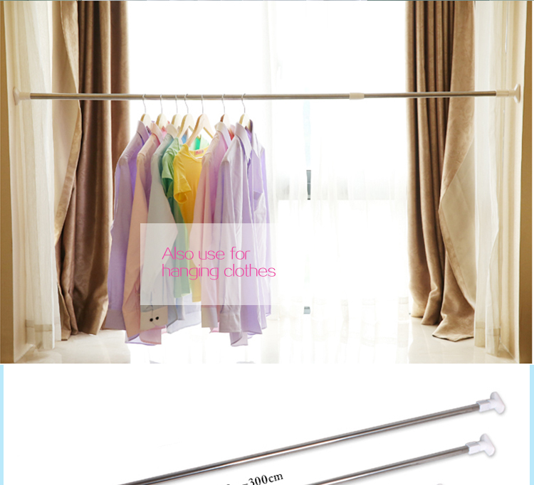 Retractable Bath Curtain Rod,Stainless Steel Curtain Extended Rods,Installation  Shower Curtain Rail