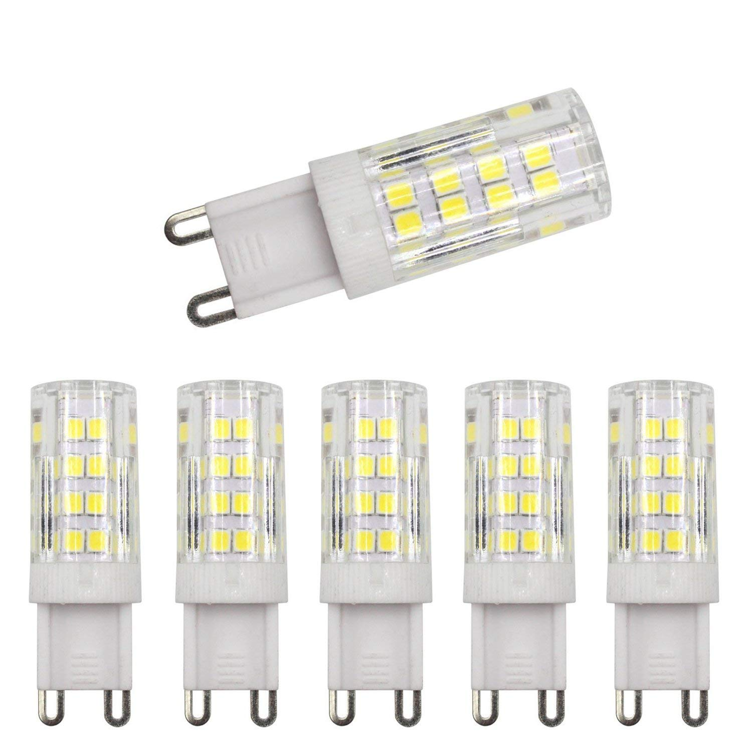 yjyuan G9 LED Dimmable Light, Bi-pin Base, Daylight White 6000k,4W (40W Halogen Equivalent) T4 JD Type LED G9 Bulb 400LM, AC100V-130V (5 Pack)