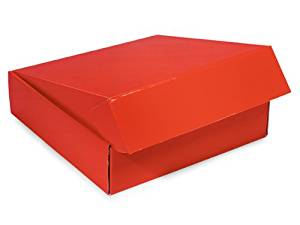 "Decorative Shipping Boxes - Red Gourmet Shipping Boxes 12x12x3"" Auto Lock Boxes - (6 Per Pack) - WRAPS - 54RE"
