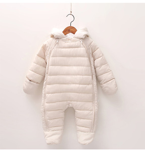 Winter Warm Inner Down Long Sleeve Overall Jacket Kids Unisex Baby Pramsuits and Snowsuits