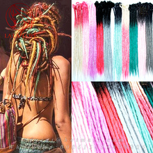 Colorful synthetic Ombre dreadlock extensions pink red Mixed Color African Locs Faux Dreads Crochet Hair Extensions Dreadlocks