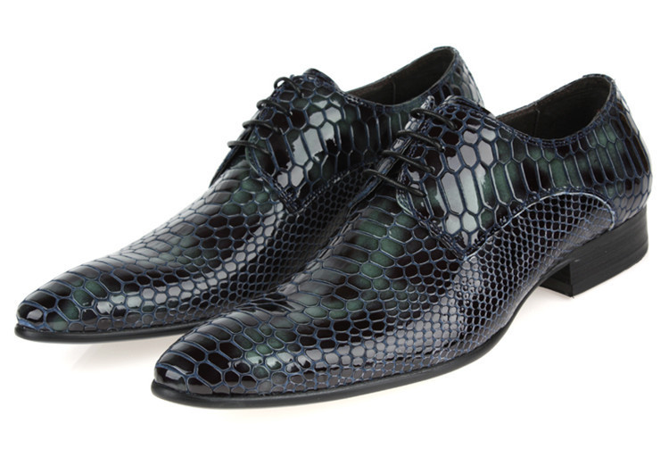 2015 mens shoes dress italy luxury snake skin design genuine leather black Dark grey gray basic flats for office size:6-10 772