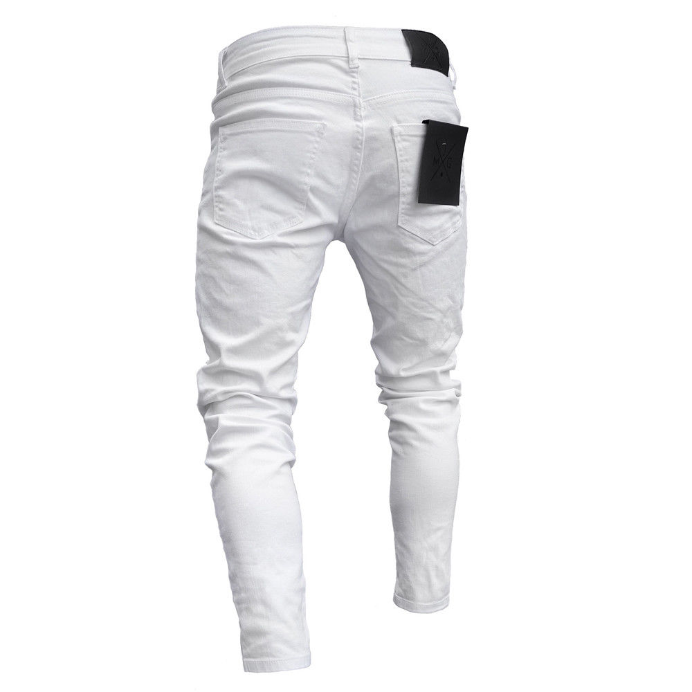 Jeans Men Fear Of Gold Skinny Jeans Fashion Biker Streetwear Distressed Ripped Denim Pencil Style Slim Mens Clothes