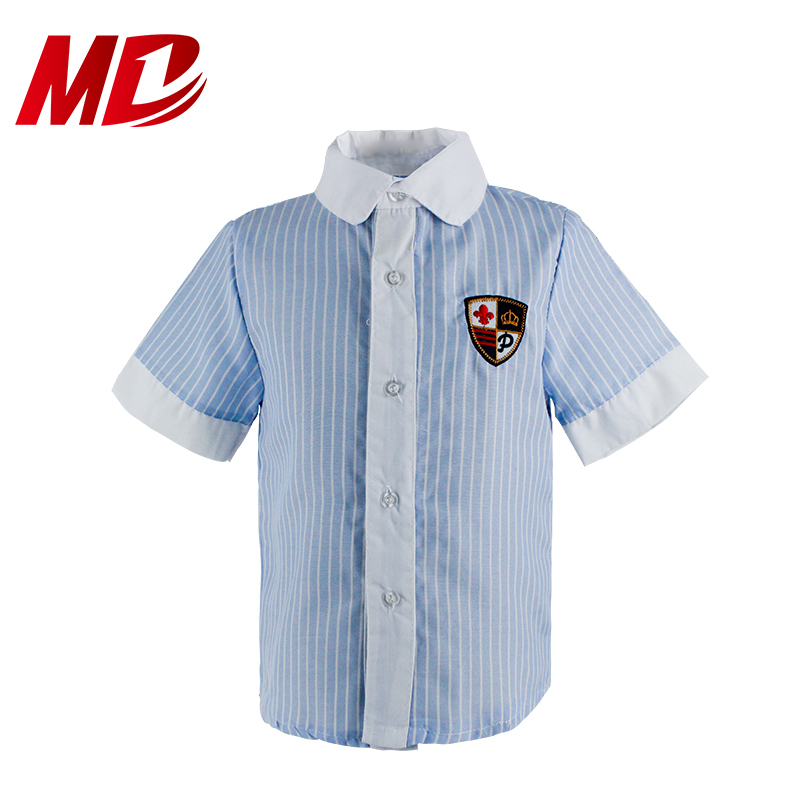 Best Sale Blue Striped Short Sleeve Shirt for School