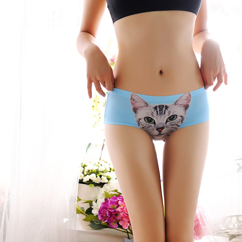 4da596b84d Buy Cotton meow star British fashion female underwear women Seamless panties  sexy cat head 3D printing briefs triangle good quality in Cheap Price on ...