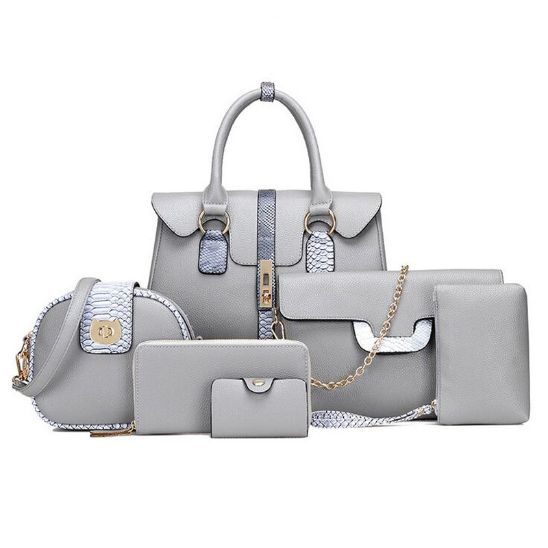 Guangzhou Bag Factory Low Price Vegan PU Leather Bag Sets 6 in 1 handbags sets for <strong>Women</strong>