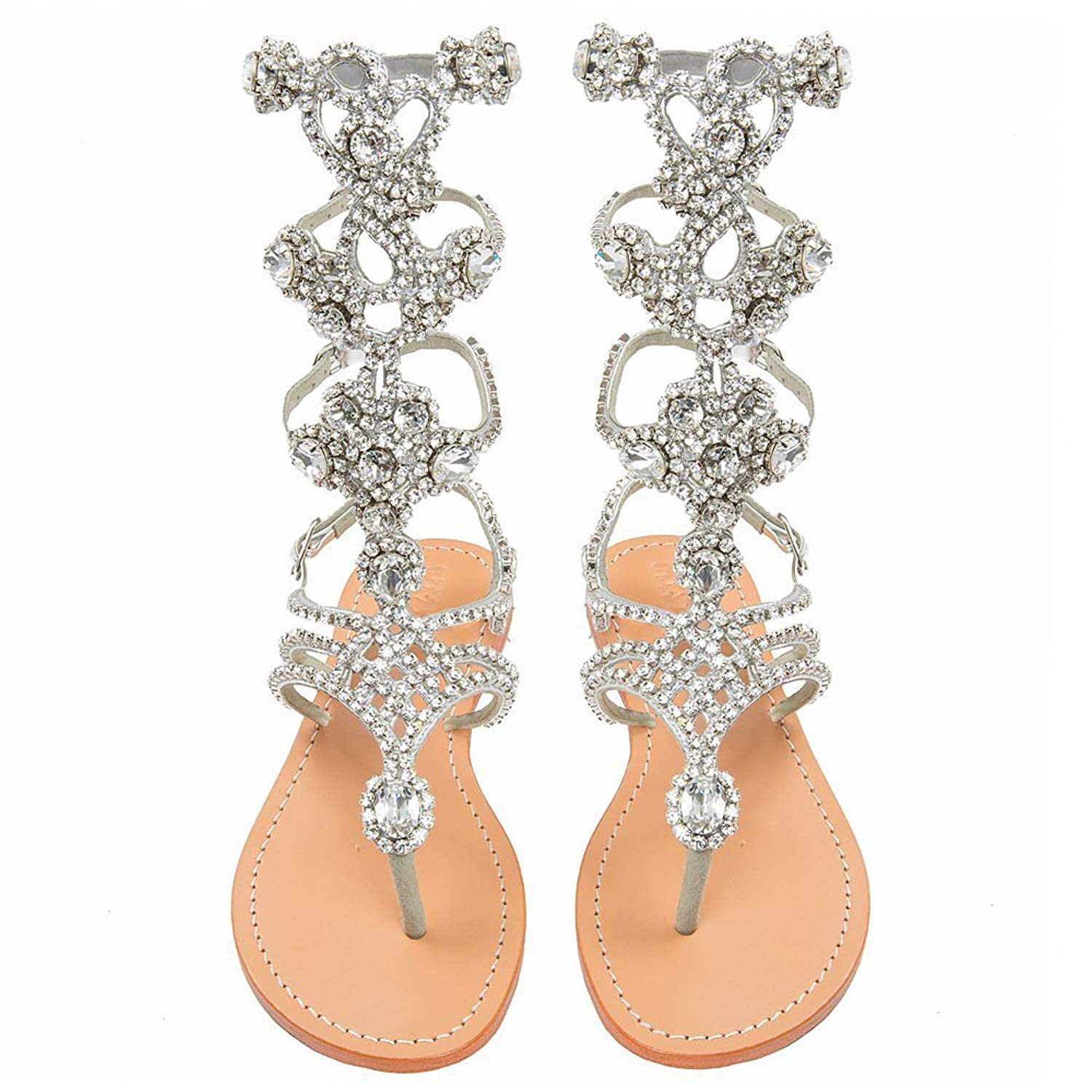 3a77a0ecc5489 Get Quotations · Mystique Original Genuine Leather Handmade Women s Silver  Jeweled   Embellished Crystal Gladiator Sandals
