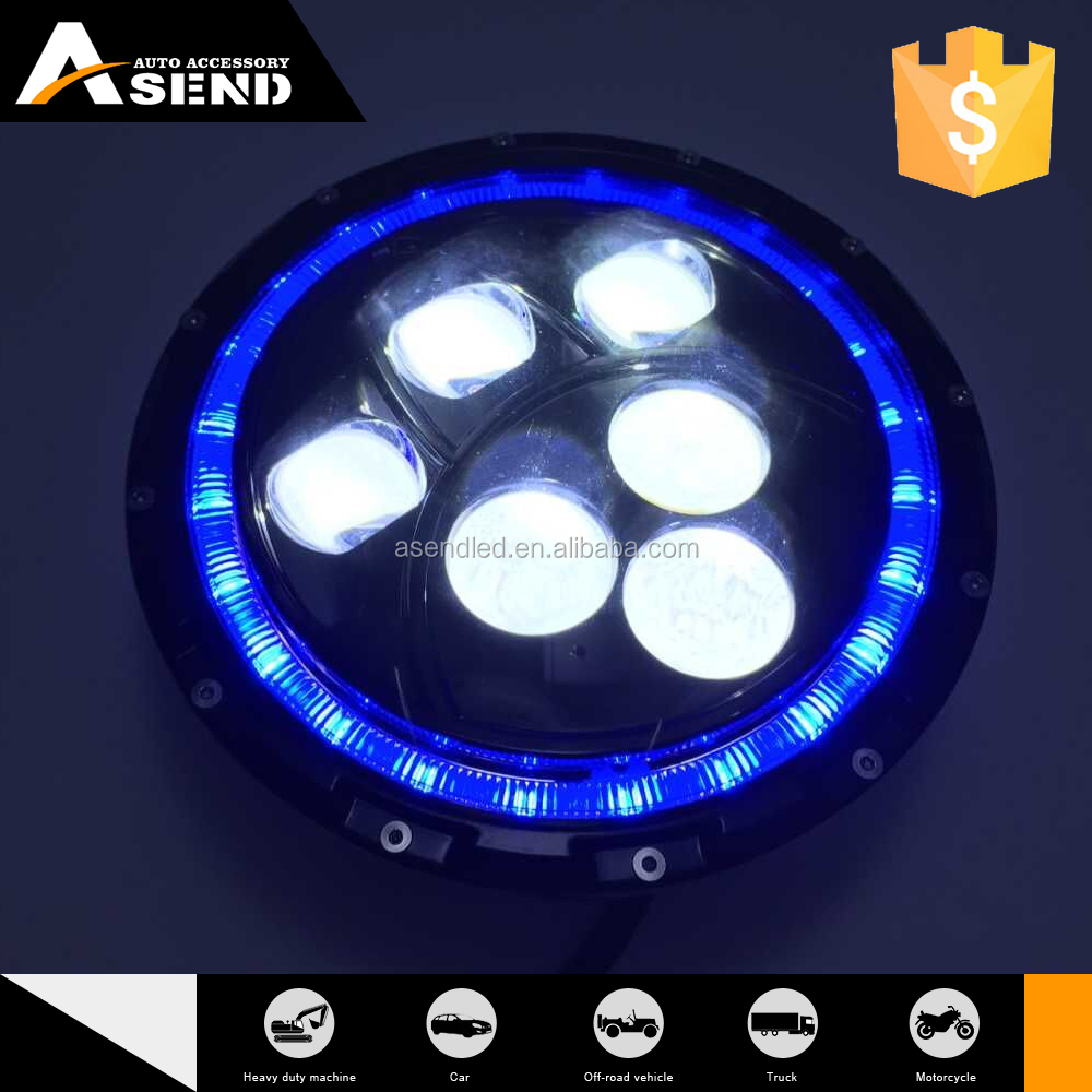 7'' led headlight with halo 60w black led driving lighting lamp 4000LM for 4x4 affroad
