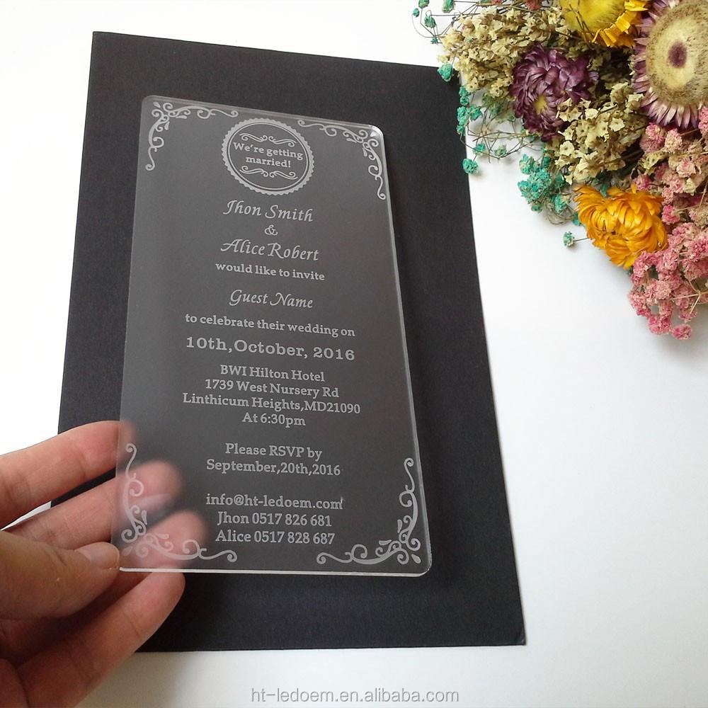 100pcs Per Lot 100*180mm Laser Cut Acrylic Wedding Invitations - Buy ...