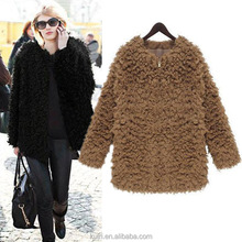 Women's autumn and winter long section of the new women's fur coat female lambs wool circle women jacket outerwear black fpc-449