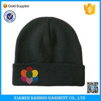 Knitted Custom 100% acrylic Black Cheap Plain Beanie Hats Embroidery Design