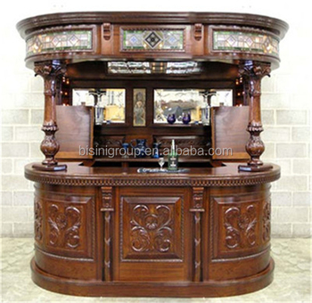 Victorian Antique Carved Style Bar Furniture Wooden Home Bar For Pub