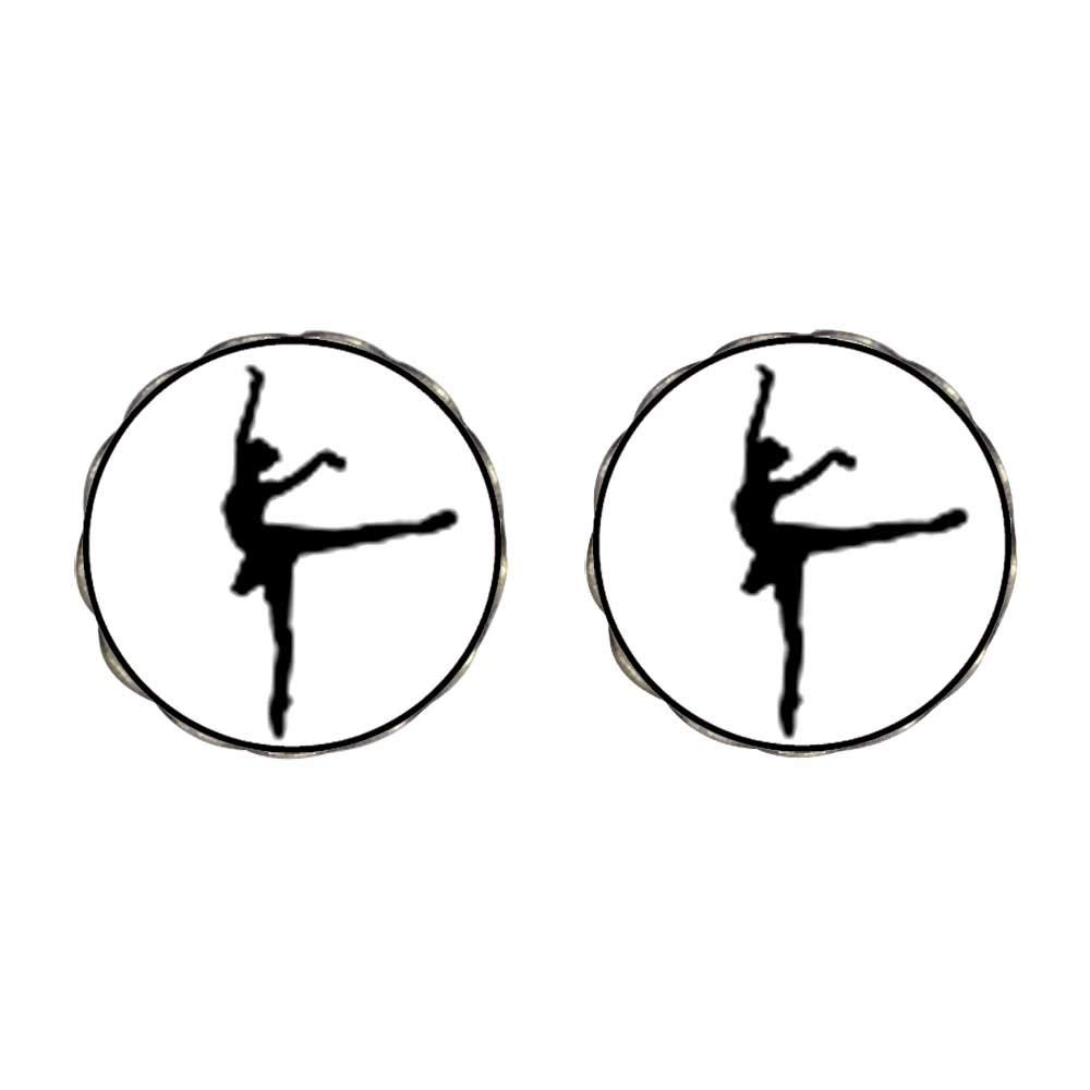 GiftJewelryShop Silver Plated Dance themes Ballet Dancer Photo Stud Earrings 10mm Diameter