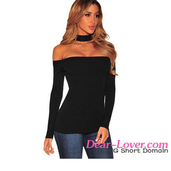 96469a754b51e Sexy Black Choker Off Shoulder Long Sleeve Ladies Simple Long Tops ...