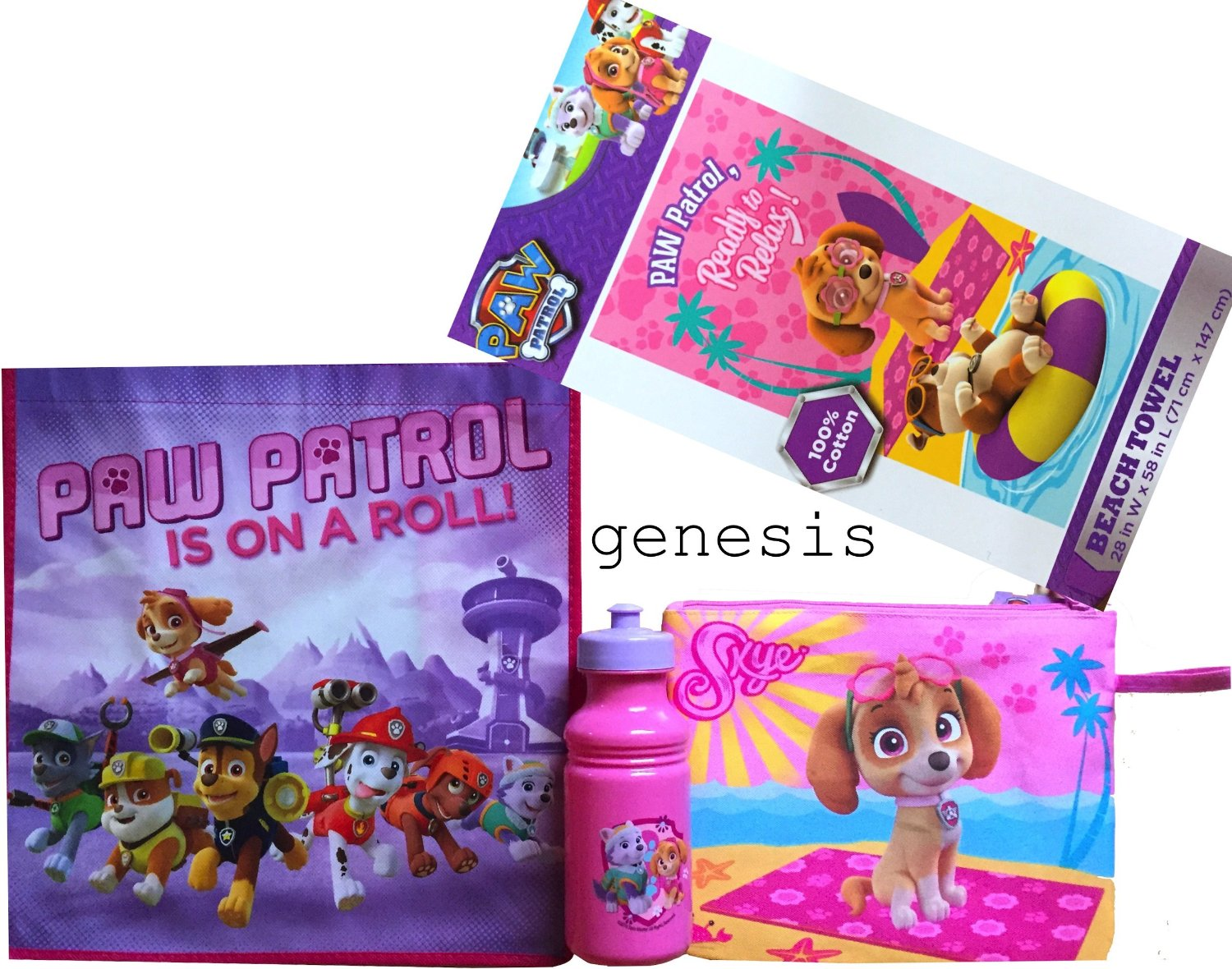 Paw Patrol Girls Beach Trip Gift Set Includes Paw Patrol Beach Towel, Tote Bag, Bottle & Small Beach Bag