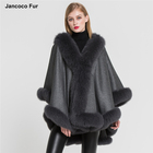 Wholesale Elegant Cashmere Poncho with Real Fox Fur Trim Fashion Women Fur Cape