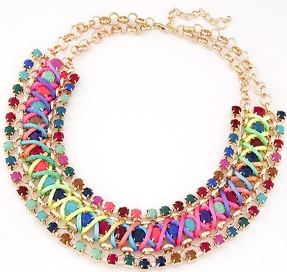 Elliptical crystal diamond necklace big stone chunky jewelry