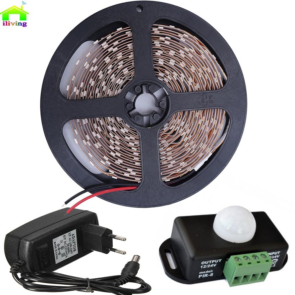 5m 2835 smd led strip diode tape tiras with pir infrared motion sensor detector light switch 12v. Black Bedroom Furniture Sets. Home Design Ideas