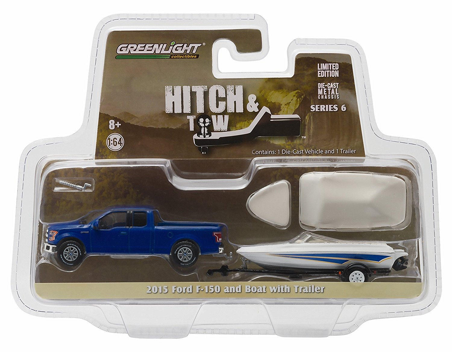 2015 FORD F-150 & BOAT with TRAILER * Hitch & Tow Series 6 * 2016 Greenlight Collectibles Truck & Trailer Limited Edition 1:64 Scale Die-Cast Vehicle Set