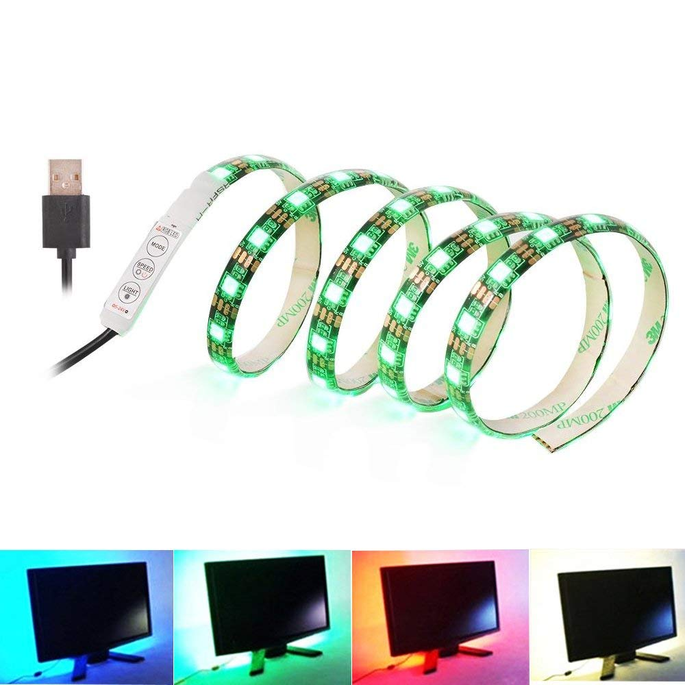 USB Powered 6.56ft (60 led) 5050 RGB LED Light Strip with 20 Key IR Remote Controller, Sync to Music Color Changing Backlight for 40-60in TV (Mini 3-Key Controller)