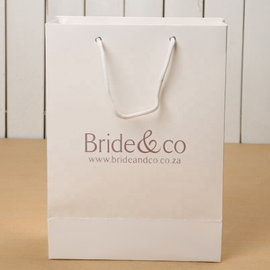 Eco-friendly brown and white kraft paper bag, luxury paperbag boutique paper gift bag